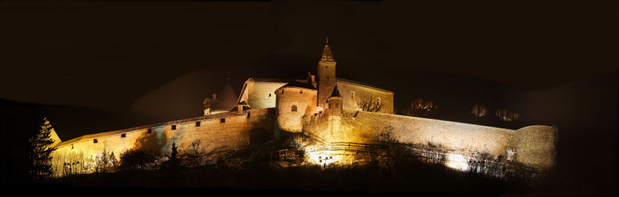 Night view from Gruyere's castel
