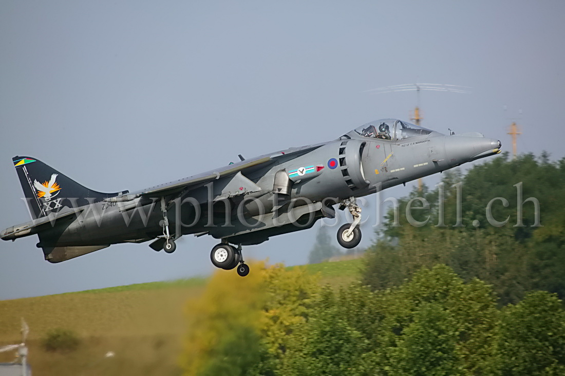 Harrier GR7 en vol stationnaire train sorti